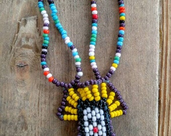 INDIAN/NATIVE AMERICAN Chief Beaded Necklace- All Orders Only 99c Shipping!!