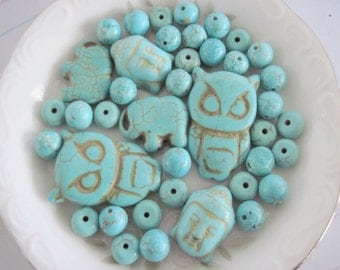 Turquoise Howlite Beads Mixed Lot, Mixed Lot Beads, Mixed Lot Turquoise Howlite Beads, Destash Beads, 40 Beads