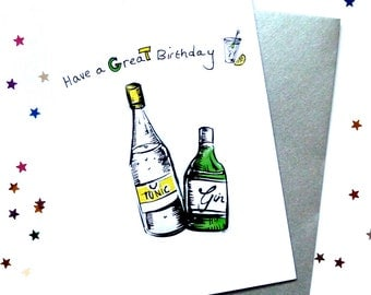 Gin Tonic Card Birthday Alcohol Humorous Quirky Illustration