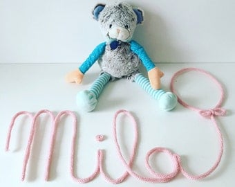 First name in knitting with one form (heart, balloon, stars...)