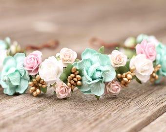 Champagne and Mint Wedding Flower Crown - Head Wreath - Hair Crown Ivory Hair Wreath - Blush Bridal Gold Crown- Headdress - Hair Accessories