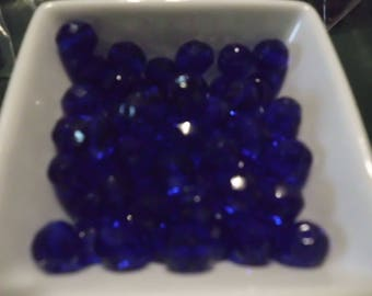 10 Pc Cobalt Blue Faceted Crystal Beads 10 mm Loose Unused