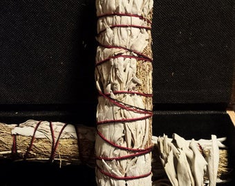 "White Sage and Sagebrush- Smudge Stick- Large 8-9"""