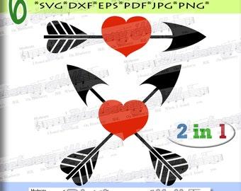 Arrow heart svg - Valentine Svg -2 Valentine hearts - arrow and heart  SVG file -Silhouette Cut Files - DIY- Svg - Dxf- Eps - Png -Jpg - Pdf