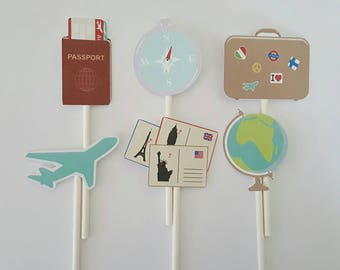 Travel cupcake toppers - set of 12, plane cupcake toppers, bon voyage theme, vacation theme