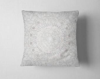 Marble and pearl mandala throw pillow