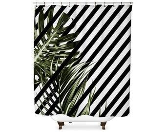 Striped tropical leaf shower curtain
