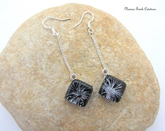 Sterling silver earrings, dichroic jewelry, fireworks earrings,dichroic earrings,french jewelry,silver earrings,dichroic glass jewelry