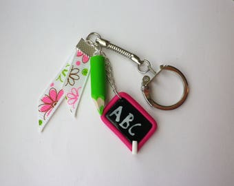 Keychain pencil and school slate, back to school gift thank you teacher 2