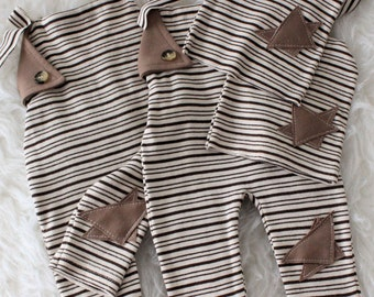 Romper,Twins Newborn Props, Newborn Photography, Baby Boy Props, Baby Stripes Pants, Knotted Hats, Brown Stripes Rompers, Brown Pants ,Hats
