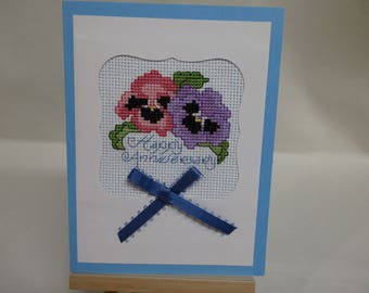 Anniversary Card Cross Stitched