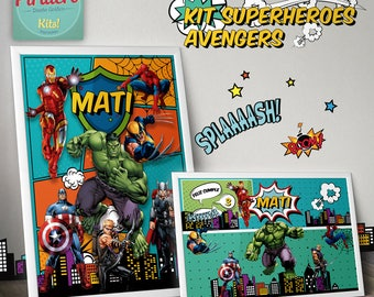 Printable Kit Super Heroes Avengers Marvel - printable kit - decoration for parties