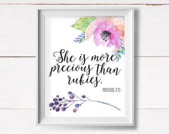Proverbs Quote Printable, Shabby Nursery Art, She is More Precious, Proverbs Nursery Art, Proverbs 3:15, Girls Room Decor, Instant Download