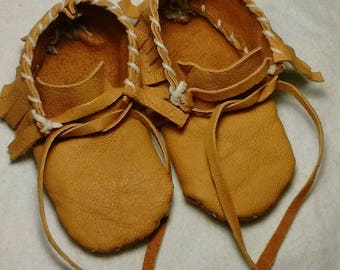 Hand Stitched Fringed Leather Baby Mocassins