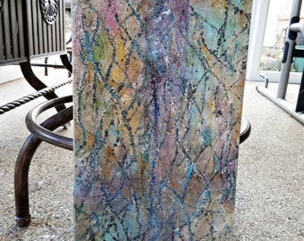 "12 x 24 Acrylic & Resin Abstract Painting titled ""Mardi Gras"""