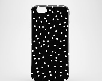 White Polka dots phone case / monochrome glossy case / confetti phone case / iPhone 7 / iPhone 7 Plus / iPhone and Samsung Galaxy cases