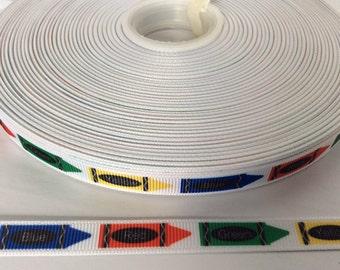 "Crayon ribbons, school ribbons, grosgrain 3/8"", korker ribbons"
