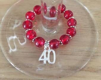 Hahdmade 40th wine glass charm
