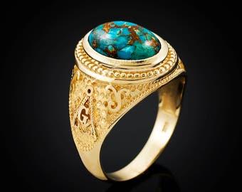 Gold Blue Copper Turquoise Masonic Statement Ring (yellow, white, rose gold, 10k, 14k)