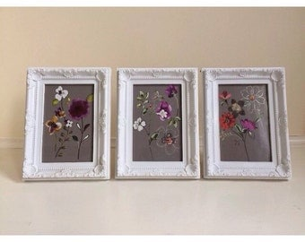 Set of 3 Photo Frames 4x6 White French Ornate Vintage Baroque Shabby Chic Floral