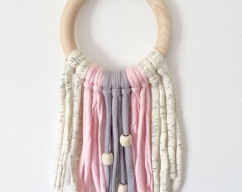 100% Natural eco-cotton dream catcher (Pastel Pink) - Also available in Yellow & Light Grey - Eco-Friendly Baby - Home Decor - Baby Nursery