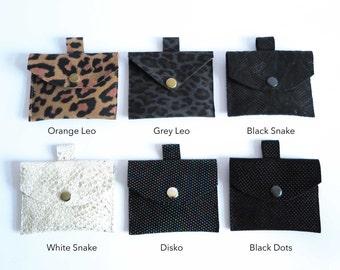 simka mini wallet purse real leather black brown blue white silver snake leo print pattern