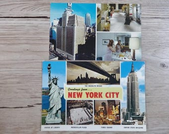 2 Vintage New York City Postcards