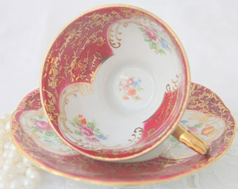 Beautiful Vintage Porcelain Demitasse Cup and Saucer, Flower and Gold Decor, Bareuther Bavaria, Germany