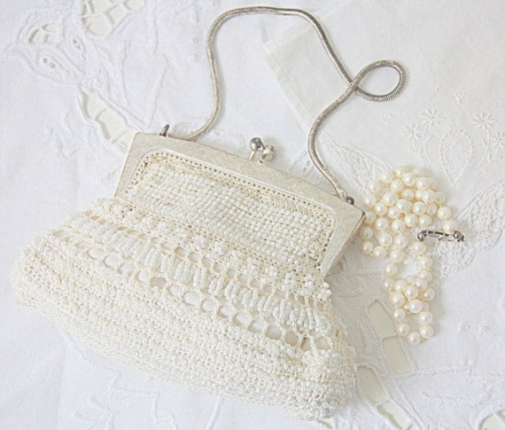 Vintage Handmade Small Beaded Evening Purse, Chain Handle, Bride's Purse