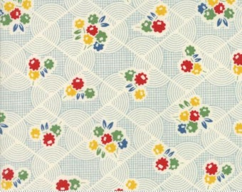 Hop Skip and a Jump - Flowers and Swirls on a Light Blue/white Background - American Jane - Fabric by the Half Yard