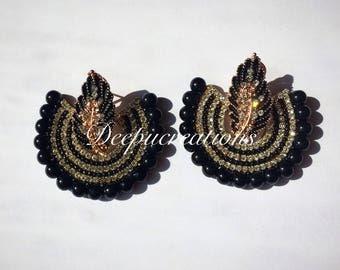 Black chandbali earrings #paper base jewellery