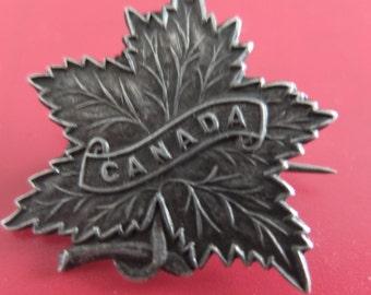 Vintage Sterling Silver Canada Maple Leaf Brooch-English maker - 30mm x 30mm