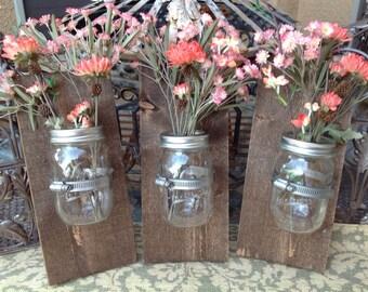Mason jar  wall decor, hanging mason jar wall vase , rustic wall sconces, farmhouse decor, set of 3 wall vases,walnut color