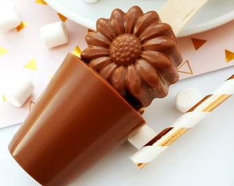 Chocolate gift - hot chocolate - chocolate spoon - hot chocolate stirrer - foodie gift - gift for her - daisy gift - floral gift - flower