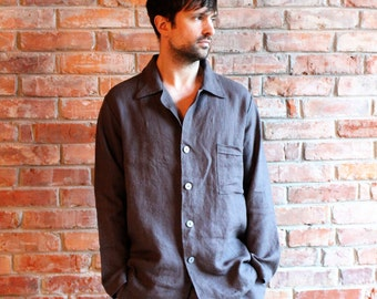 Mens Linen Pajama  Linen Sleepwear, Mens Linen night suit , Linen Pyjamas Pants and Shirt, Homewear, Linen Leisure wear