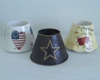 Home Interior Candle Jar Shade Toppers Lot of 3//Home Interior Toppers