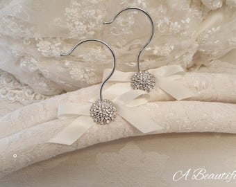 Ivory Lace Bridal Hanger with Crystal