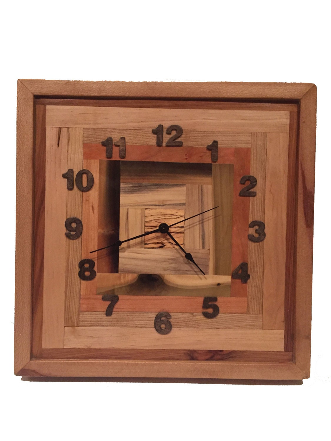 Industrial Wall Decor Reclaimed Wood Rusic Square Pattern Industrial Wall Clock Rustic