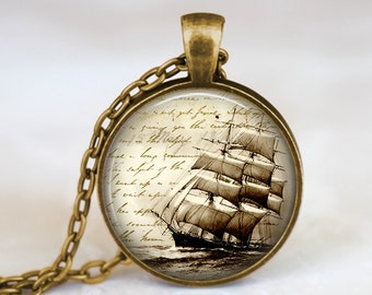 Antique Ship - Vintage Steampunk Handmade Pendant Necklace