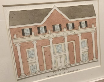Delta Zeta University of Tennessee Sorority House Watercolor Print DZ UT