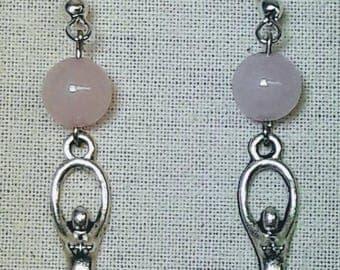 Goddess with rose quartz drop earrings