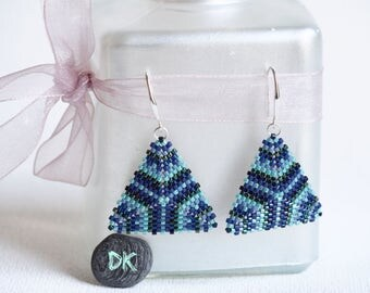 Earrings pearls earrings triangles geometric earrings earrings blue green earring peyote Miyuki