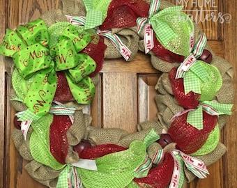 Christmas Wreath in Burlap and Mesh