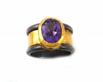 Amethyst solitaire handmade ring