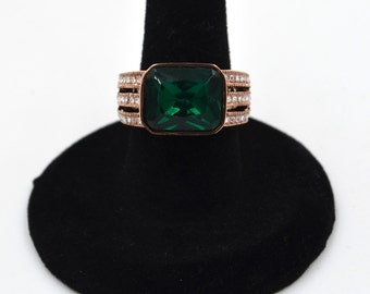 Rose Gold Stainless Steel Emerald CZ Ring