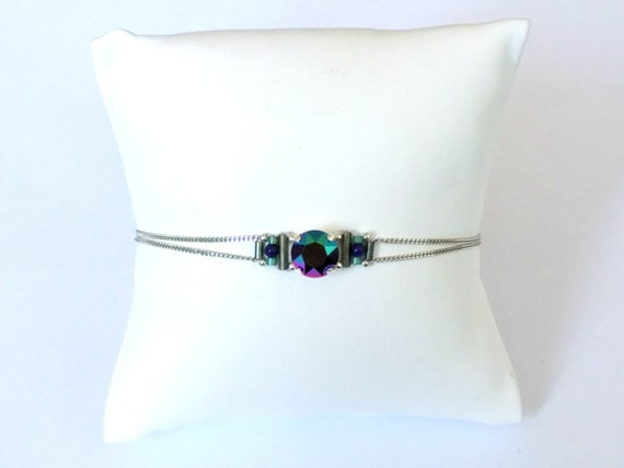 Silver bracelet crystal and lapis lazulli