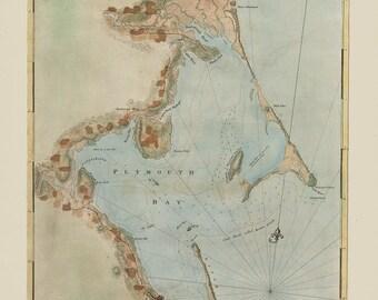 0438-Plymouth, Kingston and Duxbury Harbor 1777 - Nautical Chart by Joseph Des Barres