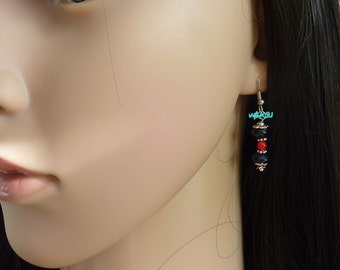 Earrings with 'golden river' midnight blue and coral bamboo pearls