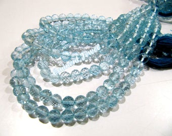 Exclusive Quality Beautiful Blue Topaz Gemstone Beads , Natural Blue Topaz Faceted Ball Shape Beads , 6-7mm Size Beads, Length 5 inches long