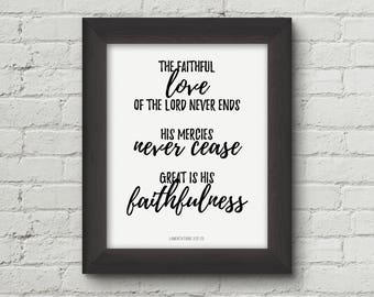 Great is Your faithfulness, Lamentations 3:22, Christian wall art, Scripture Printable, Bible Verse art print - Digital Download